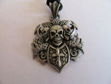 NEW PEWTER HELL RAISERS DEATH'S KEEPER SKULL NECKLACE WITH ADJUSTABLE BLACK CORD