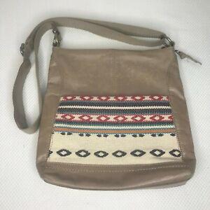 The Sak Taupe Shitake Loom Tribal Southwestern Leather Woven Crossbody Bag Purse