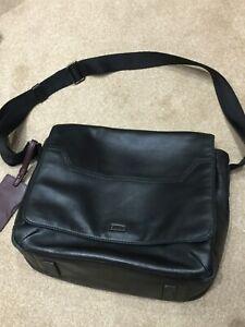 Hugo Boss Black Soft Cow Skin Leather Messenger Bag Adjustable Shoulder Strap