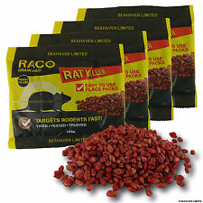 4 x 100g RACO RAT / MOUSE / MICE RODENT KILLER - GRAIN BAIT POISON SACHETS 400g