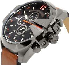 Latest Diesel Men's DZ4343 Mega Chief Gunmetal Brown Leather Watch