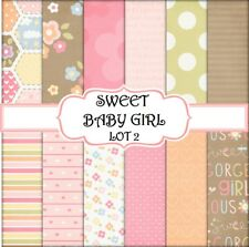 SWEET BABY GIRL - LOT 2  SCRAPBOOK PAPER - 12 x A4 pages
