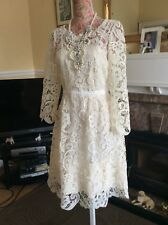 Monsoon Cream Lolita Lace Bridesmaid Bride Dress Pristine Size 14 16 Hols 9 May