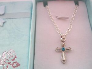 Girls Cross Necklace with Pink or Blue Rhinestone, Kids Religious Jewellery Gift