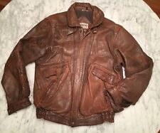 Vintage AMERICAN EAGLE Distressed LEATHER Bomber Jacket Grunge 90s Sz 40 Med Lrg