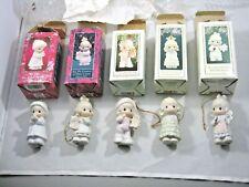 Lot of 5 Enesco 1991-1995 Precious Moments Porcelain Christmas Ornaments w/Boxes