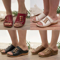Womens Slipper Orthopedic Wedge Heel Slip On Open Toe Mules Summer Sandals Shoes