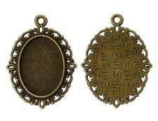 4pcs-set for 18mmX13mm Cab-Antique brass tone oval tray Setting,Cabochon Setting