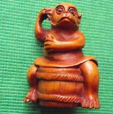 Japanese Wood Hand Carved Treen Netsuke : Monkey Over a Barrell