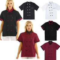 Chef Jacket Men Women Kitchen Short Sleeve Chef Coat Cook Working Uniform Pocket