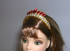 BARBIE DOLL TIARA COUNTESS OF RUBIES ELEGANT SWAROVSKI CRYSTALS EXQUISITE CROWN