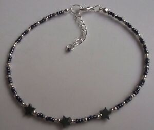Black and Silver Hematite star glass beaded anklet ankle bracelet  - size choice
