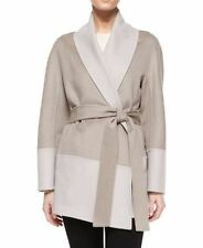 $3995 NWT Escada Double-Faced Wool/Cashmere Wrap Topper Jacket Pewter Sz. 6/36