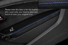 BLUE Stitch 2x Porta BRACCIOLO PELLE COPERTURA Adatta per VW Polo MK8 09-15 3 PORTE