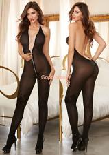Sexy Lingerie Womens Halter V Neck Backless Zipper Teddy Bodysuit Body Stocking