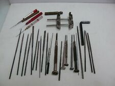 Lof of watchmaker tools NEEDLE FILES, screwdrivers, oilers and other tools