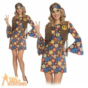 Adult Ladies 60s Groovy Hippy Costume Groovy Retro Womens Fancy Dress Outfit