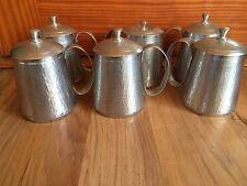 Set Of 6 Antique Indonesia T.H.P. Bangka Tinwrk Engraved Mugs With Lids - Unique