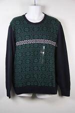 Weatherproof Sweater Crew Neck Blue Green White Snowflake XL Mens New