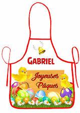 tablier de cuisine garçon joyeuses pâques  personnalisable avec prénom réf 41