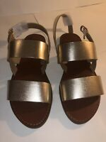 Dune London Two Band Flat Sandal Gold Leather Size 3