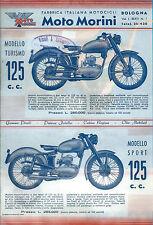 Volantino pubblicitario Moto Morini 125 cc. Turismo e Sport - 1947 Moto d'Epoca