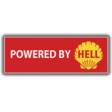 Powered by Hell Bumper sticker decal, hotrod, kustom hoodride vw dub 180mm wide