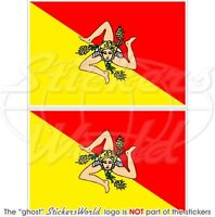 "SICILY Sicilian Flag ITALY  Vinyl Bumper Stickers, Decals 75mm (3"") x2"