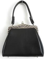 """Vtg Dover Baguette Handbag Black Faux Leather Metal Frame 8""""x6.5""""x3"""""""
