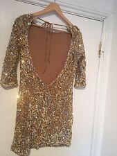 LADIES GOLD SEQUENCED OPENED BACK PARTY DRESS SIZE 8 By RARE DESIGNER