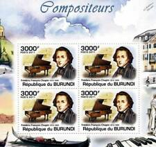 Frédéric CHOPIN & Grand Piano Music Composer Stamp Sheet #5 of 5 (2011 Burundi)