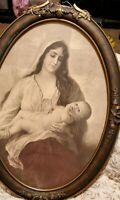 ANTIQUE ART framed  litho Virgin Mary & Baby Jesus Religious ~ORNATE wood FRAME