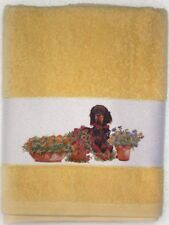 GORDON SETTER DOG LARGE HAND/GUEST COTTON TOWEL WATERCOLOUR PRINT SANDRA COEN