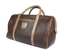 CELINE MACADAM PVC Canvas Leather Brown Boston Bag CB16707L