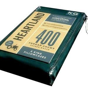 Emerald Green Heartland 400 TC 100% HomeGrown Cotton Sateen KING Pillowcases