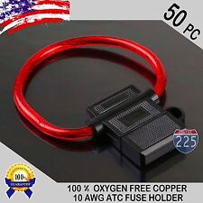 50 Pack 10 Gauge ATC In-Line Blade Fuse Holder 100% OFC Copper Wire Protection