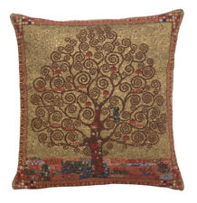 Belgian Tapestry Decorative Throw Pillow Cushion Cover 18x18 Klimt Tree of Life