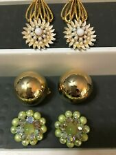 Nashville Estate Jewelry 4 Pairs Earrings Clip Green Cluster Bead Modernist Ball