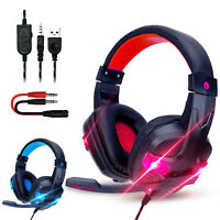 3.5mm Wired Gaming Headset Stereo Surround Headphone Mic For PS4 Laptop Xbox one