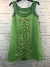 Anthropologie Floreat Dress Size 4 Mint Leaf Green Shift Beads Embroidery Pleat