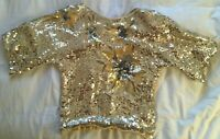 Vintage Yellow Sequin and Beaded Top VGC