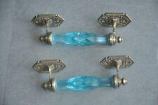 2 Pc Vintage Brass Victorian Blue Cut Glass Door Handles
