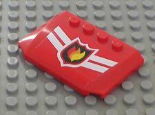 LEGO Red Wedge 4x6x2/3 Triple Curved Fire Logo Ref 52031pb003 7945stk01 Set 7945