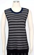 Kasper Electric Blue Multi Cotton Sweater Vest Top Size M Casual Women's New *