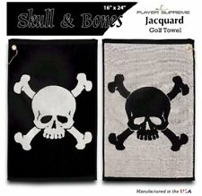 "Skull & Bones Golf Towel 16"" X 24"" - Jacquard style Made in USA"