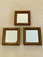 "VINTAGE HOMCO HOME INTERIORS SET OF 3 SQUARE DECORATIVE MIRRORS 5 1/4"" x 5 1/4"""