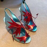 Rupert Sanderson Blue Red Metallic High Heels Ankle Boots Style Sandals