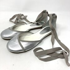 NEW Gianni Bini Silver Leather Ballet Flats Tie Ankle Sz 8.5