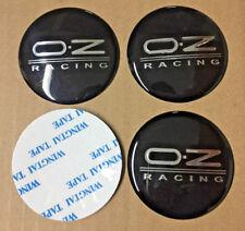 4x (Sticker) 60mm OZ Black / Silver Wheel Centre Cap Hub Cap Sticker Logo UK