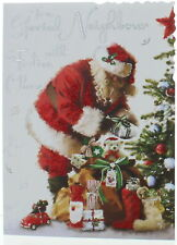 Jonny Javelin Neighbour Christmas Card - Santa With Tree and Gifts  7.25x5.5""